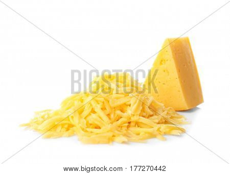 Pile of grated cheese isolated on white