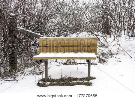 Wooden bench seat in wilderness and rural area covered with winter snow