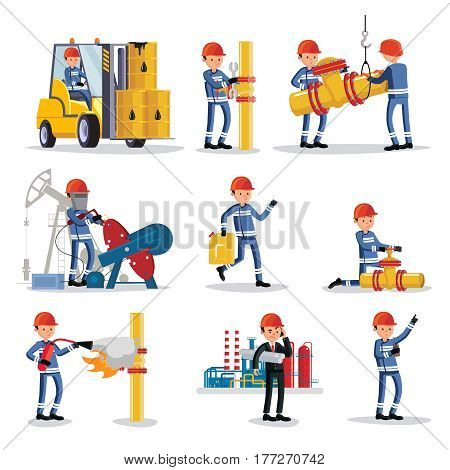 Oil industry people set with industrial workers of different professions in various situations on petrochemical factory isolated vector illustration
