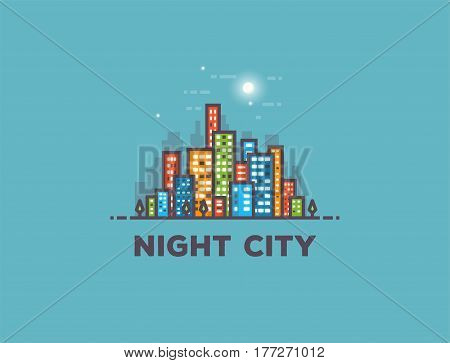 Night big city line style vector illustration. Full moon and stars with clouds. Architecture background with skyscrapers buildings. Modern town. Business center residential quarter or block.