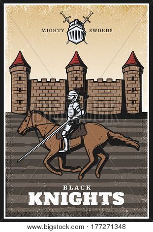 Colorful vintage medieval poster with armored knight with lance riding horse and castle or fortress vector illustration