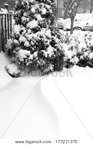 Snow drift in suburban neightborhood during snow storm space for text bottom half vertical
