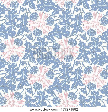 Abstract dandelion seamless pattern wallpaper in pink and blue colors on white background