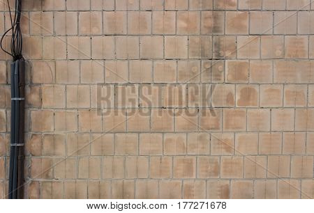 Old Tiled Wall With Wires Can Use For Background