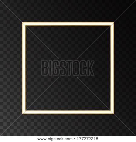 Gold neon frame with lights effects isolated on black transparent background. Shining golden square banner. Vector shape.