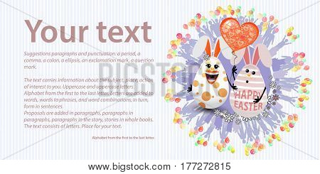 Happy Easter. Place for your text. Two rabbit egg together. Concept of a family holiday