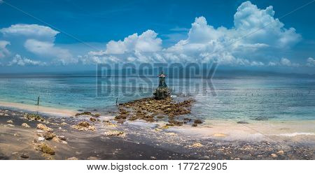 Cute Temple on the Shore by the Sea on Nusa Penida with Dramatic Clouds above Bali, Indonesia. Banner