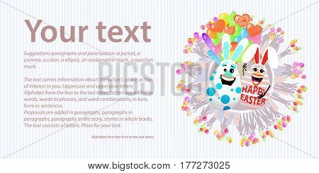 Happy Easter. Place for your text. Two rabbit egg together with an armful of balloons. Concept of a family holiday
