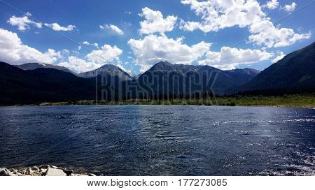 a lake in Colorado with mountains behind it