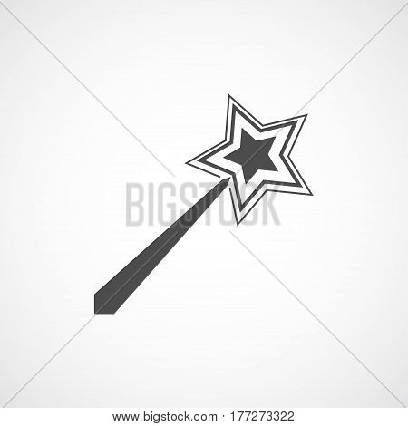 Vector flat magic wand icon. Isolated black icon for logo web site design app UI. Flat magic wand illustration for posters cards book cover flyers banner web game designs.