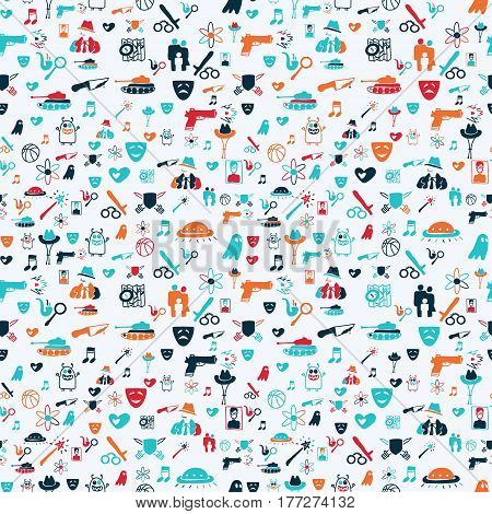 Vector hand drawn cartoon seamless pattern with cinema genres. Movie genres theme: action romance fantasy sci-fi comedy drama. Colored pattern for paper textile polygraphy game web design