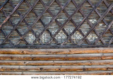Wicker background on the beach near Black sea
