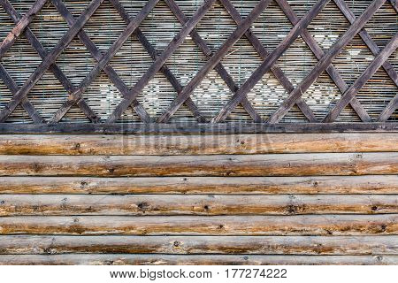 Wicker background on the beach in brown tones