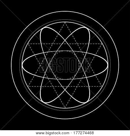 Dark sacred geometry symbol illustration. Vector energy star of rotated circles