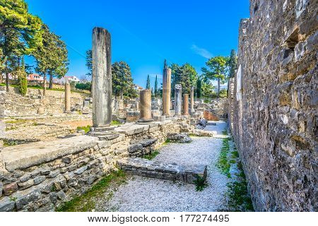 Scenic view at old ruins of ancient roman city Salona in suburb of town Split, Croatia.