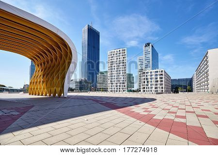 Vienna, Austria - August 14, 2016: Modern Architecture Of Vienna Donau City Complex On A Beautiful S