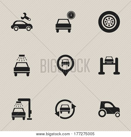 Set Of 9 Editable Traffic Icons. Includes Symbols Such As Car Lave, Vehicle Car, Tire And More. Can Be Used For Web, Mobile, UI And Infographic Design.