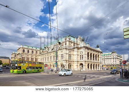 Vienna, Austria - August 14, 2016: Busy Operring Junction By The Vienna State Opera Building.