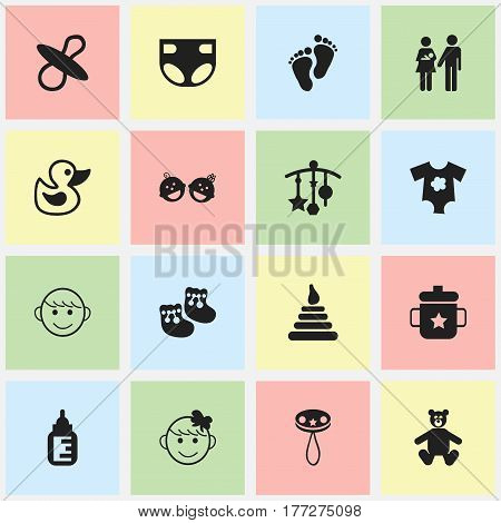 Set Of 16 Editable Baby Icons. Includes Symbols Such As Soothers, Footmark, Twins Babies And More. Can Be Used For Web, Mobile, UI And Infographic Design.