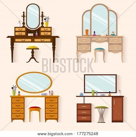 Set dressing tables of various designs. Flat style vector illustration.  Furniture for a feminine boudoir. A table for cosmetics.