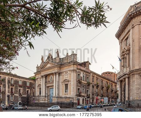CATANIA ITALY - SEPTEMBER 13 2015: The church of San Biagio also called the church of Sant'agata alla Fornace is a catholic church in Catania is located at square Stesicoro Sicily Italy