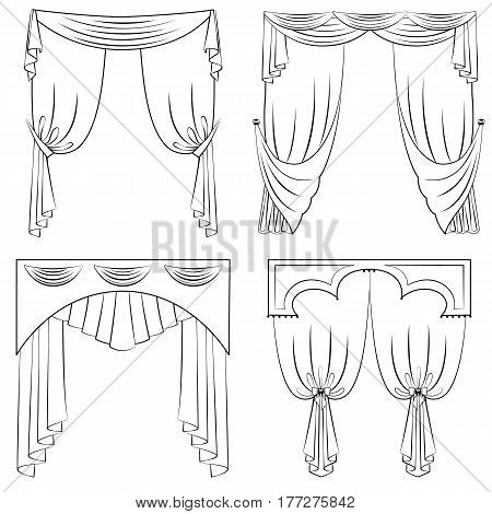 Vector set of curtains in a outline style. Four graphic curtains in various designs isolated on white background