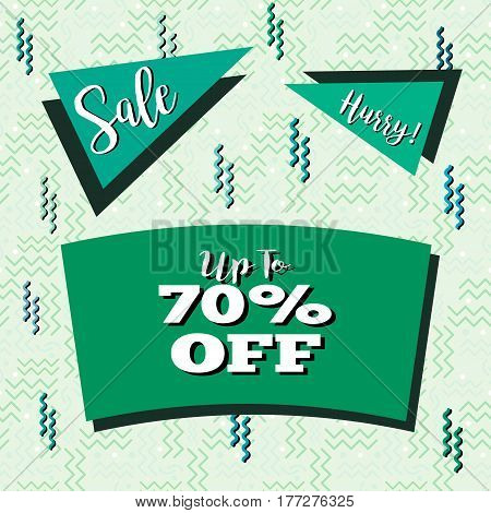 Funky sale flyer in Memphis style with seamless background design in pastel green tones.