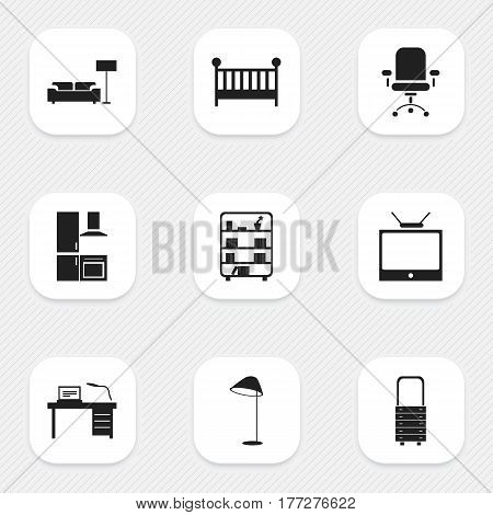 Set Of 9 Editable Home Icons. Includes Symbols Such As Interior, Cuisine, Child Cot And More. Can Be Used For Web, Mobile, UI And Infographic Design.