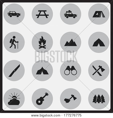 Set Of 16 Editable Travel Icons. Includes Symbols Such As Tomahawk, Voyage Car, Ax And More. Can Be Used For Web, Mobile, UI And Infographic Design.