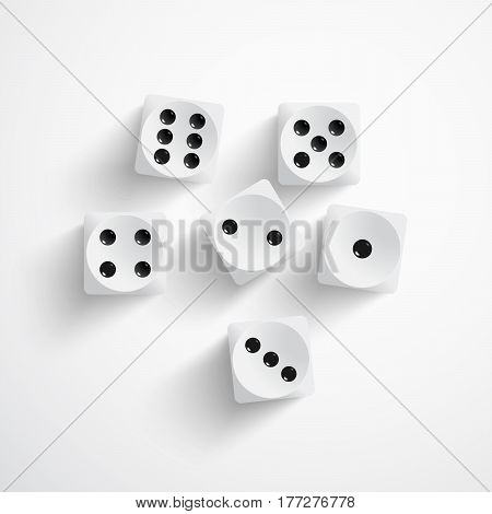 Vector illustration of set of white dices