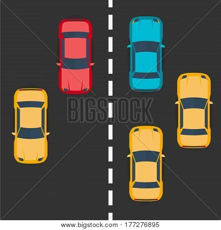 Highway Traffic Concept With Top View Cars On Asphalt Road. Vector Flat Illustration.