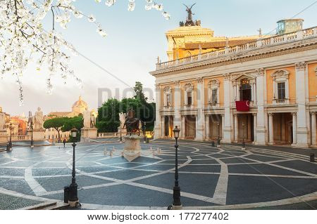 Campidoglio square, Capitoline hill in Rome at spring day, Italy