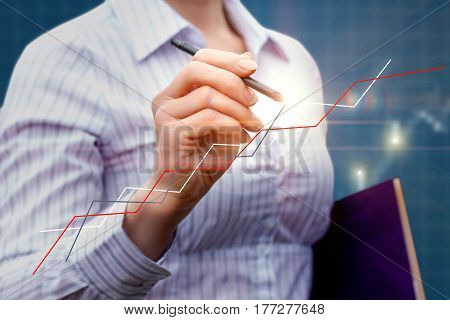 Businesswoman Draws A Graph .