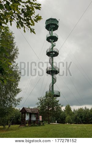 Sartai lake observation tower Rokiskis district Lithuania. The tower is 36 m hight.