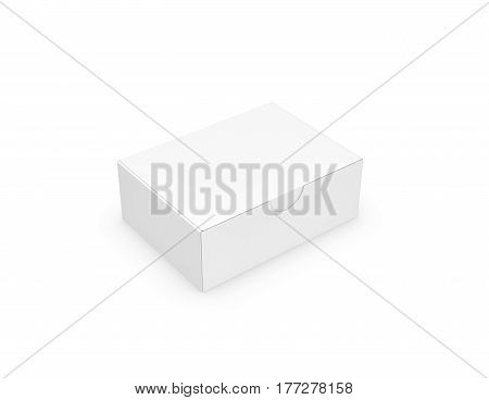 3d rendering of a white rectangular box with a closed attached lid on white background. Package and delivery. Carton boxes. Sending mail.