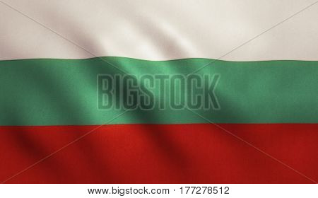 Bulgarian national country flag with fabric texture.