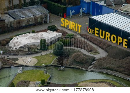 Brussels Belgium - February 25 2017: Mini-Europe theme park from above. Closeup of Greek Acropolis miniature.