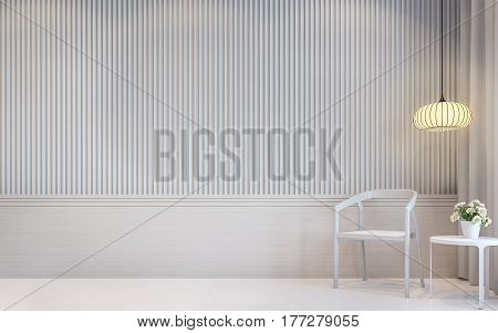 Modern white living room interior 3d rendering image.there are a blank white wall with Lath in vertical pattern and white floor. Decorate room with white chair and Warm light hanging lamp