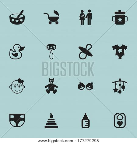 Set Of 16 Editable Kid Icons. Includes Symbols Such As Lineage, Nappy, Tower And More. Can Be Used For Web, Mobile, UI And Infographic Design.