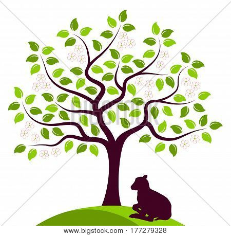vector flowering tree and goat kid isolated on white background