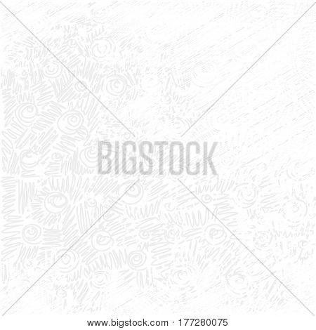 Vector white background with doodle. Grunge texture