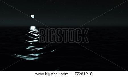 The Sea In The Light Of The Moon At Night