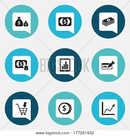 Set Of 9 Editable Banking Icons. Includes Symbols Such As Shopping Pushcart, Specie, Salary And More. Can Be Used For Web, Mobile, UI And Infographic Design.