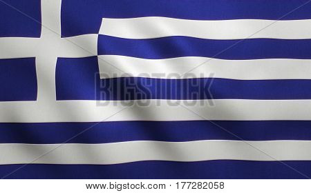 Greek national country flag with fabric texture.