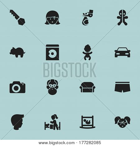 Set Of 16 Editable Folks Icons. Includes Symbols Such As Daughter, Canape, Swimming Trunks And More. Can Be Used For Web, Mobile, UI And Infographic Design.
