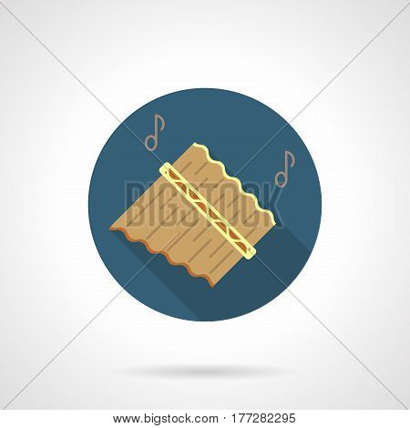 Abstract wooden pan flute or panpipes and two notes. Woodwind musical instruments symbol. Round flat design vector icon.