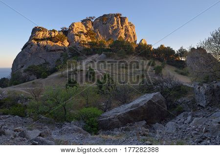 Mountain landscape with rocks in the sunlight. Trees grow near stones