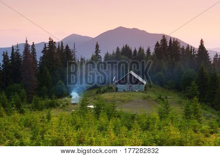 Summer landscape with a camping in the mountains. A wooden house in a spruce forest. View on mountain peaks. Carpathians, Ukraine, Europe