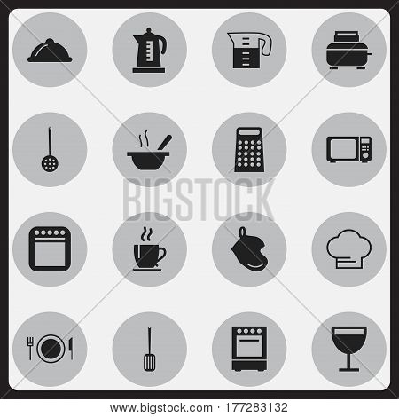 Set Of 16 Editable Cooking Icons. Includes Symbols Such As Wineglass, Cooking Cap, Wave Oven And More. Can Be Used For Web, Mobile, UI And Infographic Design.