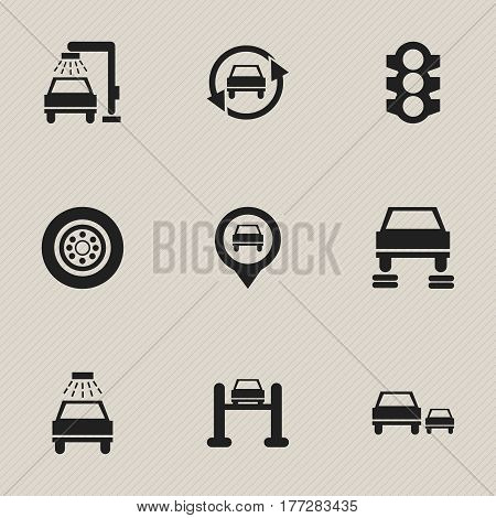 Set Of 9 Editable Traffic Icons. Includes Symbols Such As Tire, Vehicle Wash, Auto Repair And More. Can Be Used For Web, Mobile, UI And Infographic Design.